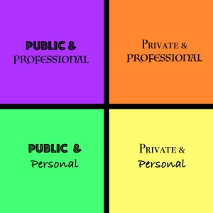 Square divided into quadrants: top left (purple) Public and professional; top right (orange), Private and Professional; bottom left (green), Public and personal; bottom right (yellow), private and personal.